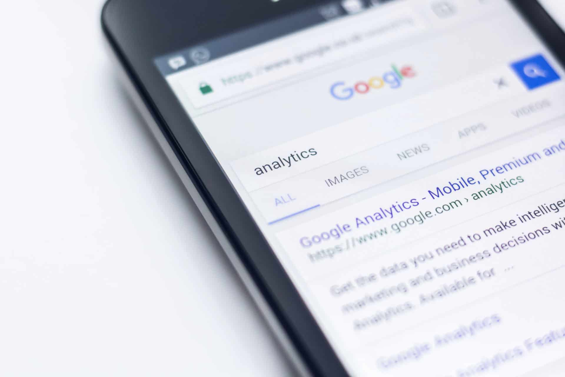 Phone Showing Results For Analytics Search on Google
