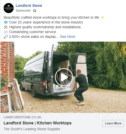 facebook video marketing for landford stone