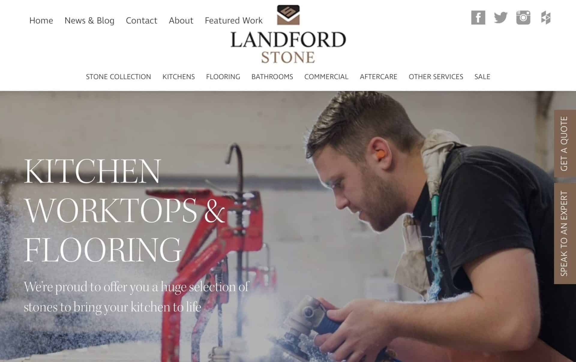 homepage website design for landford stone