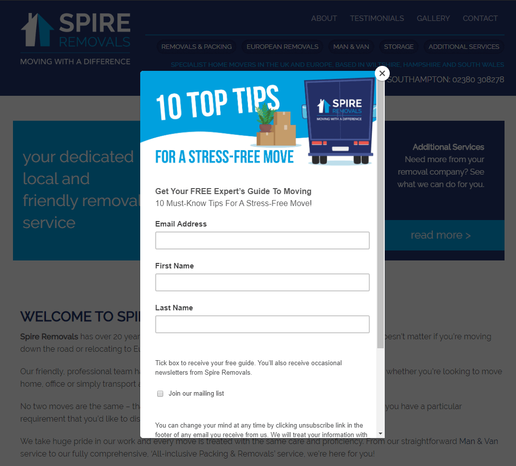 spire-removals website popup