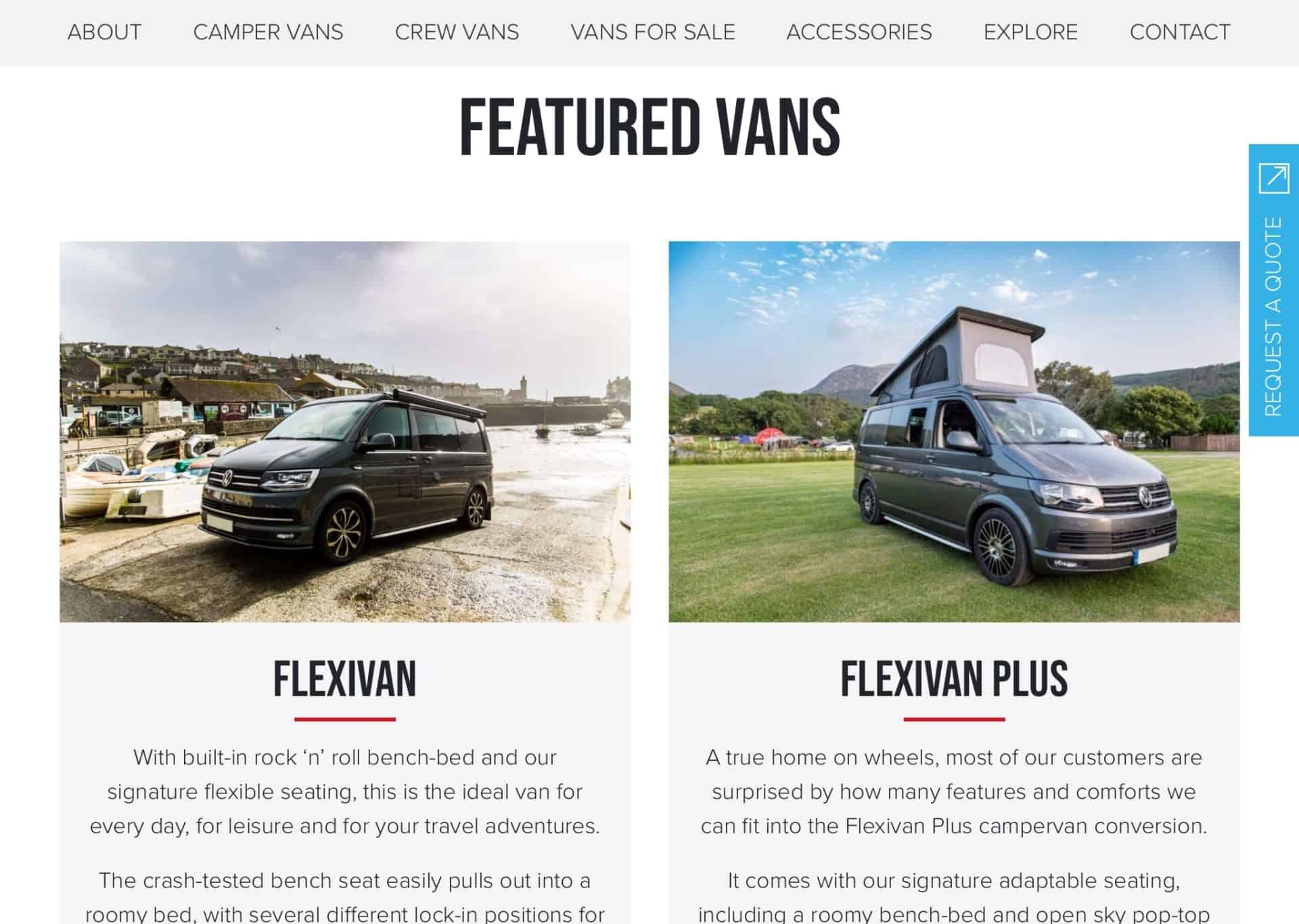 web design featured flexivan 2