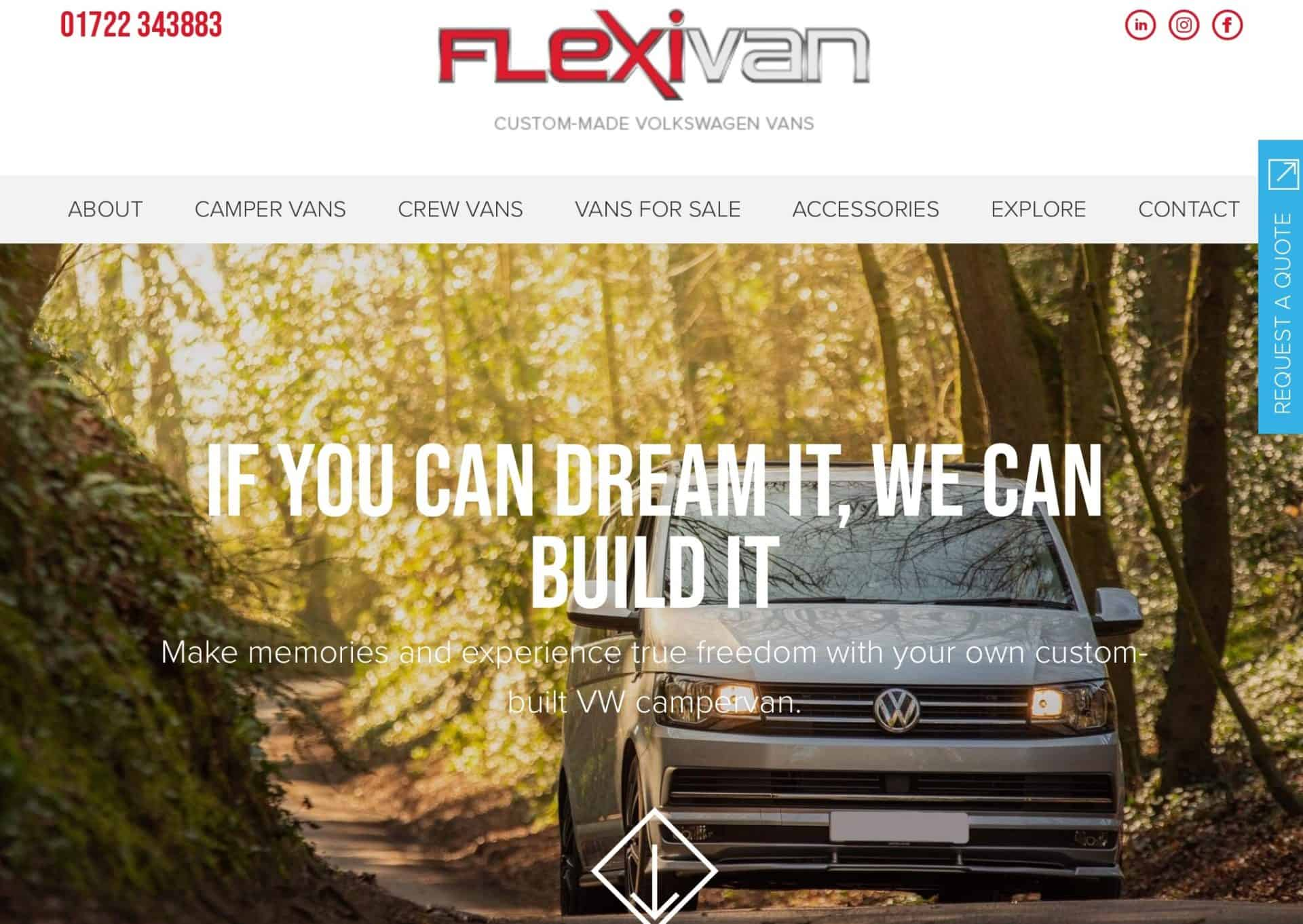 web design homepage flexivan 1b
